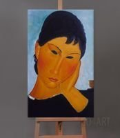 Elvira Resting at a Table (fragment obrazu) - Amadeo Modigliani  - obrazy olejne - Go4Art - reprodukcja - 60x90cm
