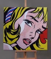 Girl With Hair Ribbon - Roy Lichtenstein - obraz olejny - 100x100cm
