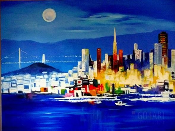 """San Francisco by night"" - obraz olejny - 90x120 cm"