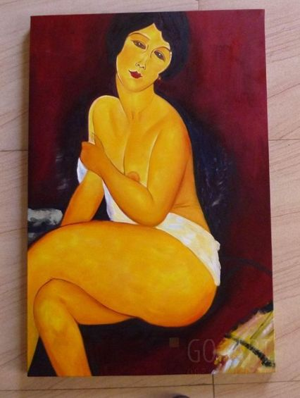 Seated Nude on Divan - Amadeo Modigliani  - reprodukcja - obraz olejny - 60x90cm