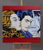 In the Car - Roy Lichtenstein - obraz olejny - 75x75cm
